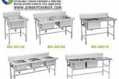 sink and cleaning table stainless steel gine kitchenset