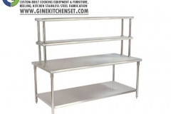 table preparation with uper shelf stainless steel, gine kitchen set denpasar